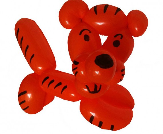 Red tiger with black stripes made out of one balloon