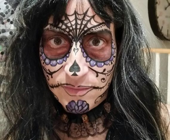 Spider web and dead bride face paint