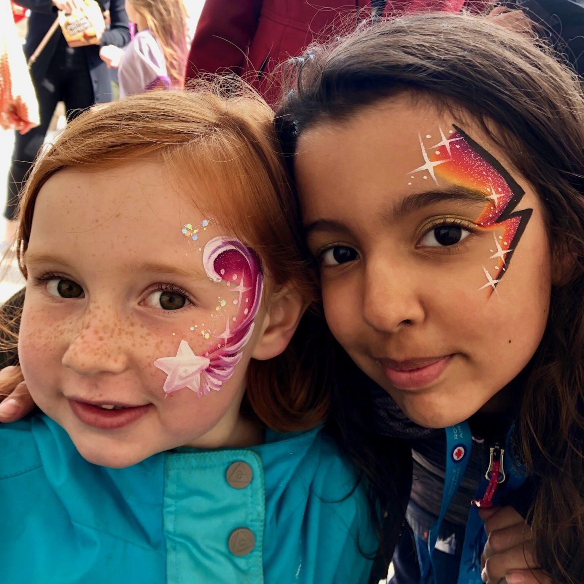 Pretty star and lightening bold on children's faces