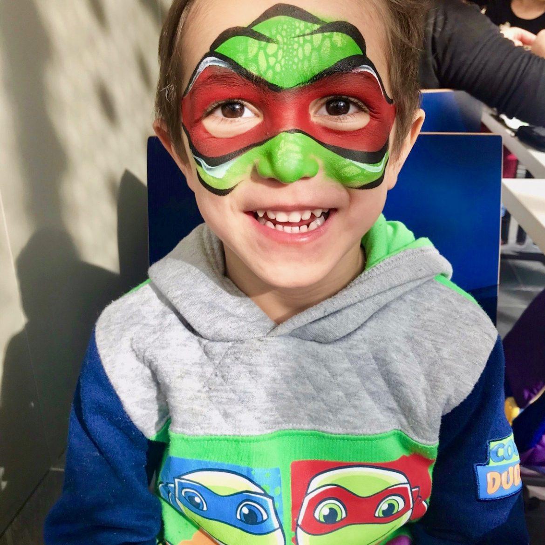 Teenage Mutant Ninja Turtles Raphael design on child's face