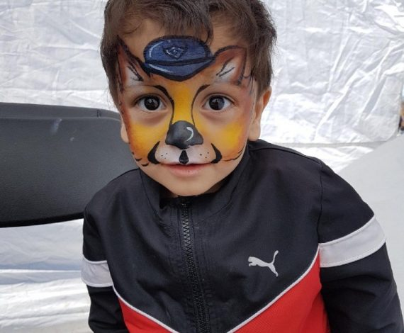 Paw patrol chase face painting on little boy