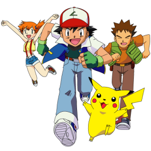 Ash Ketchum, Misty, Brock, and Pikachu from Pokemon running