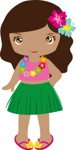 Drawing of girl dressed in Hula skirt